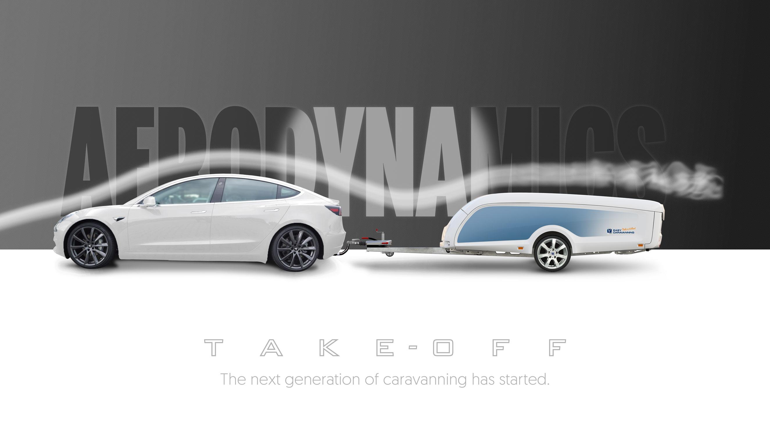 Tesla model 3 met TakeOff is aerodynamisch